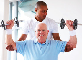 elderly man having a dumbbell exercise