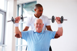 elderly having a physical therapy